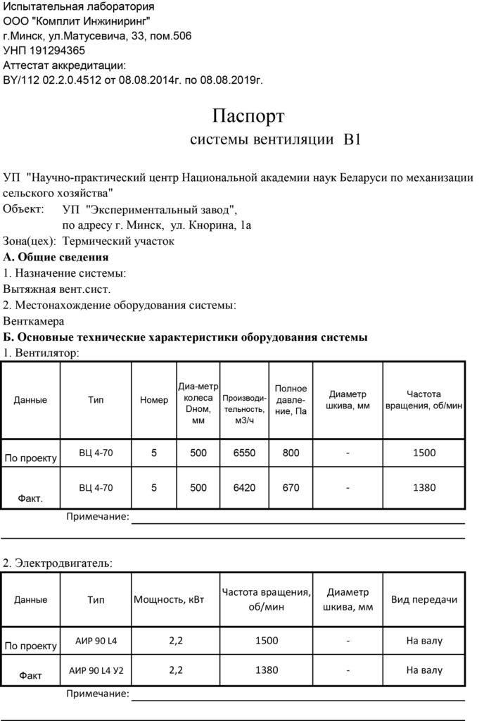 паспорт вентиляционной системы.пример-1